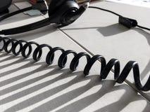 Van de communicatie Achtergrond call centredesktop Close-updetail Royalty-vrije Stock Afbeeldingen