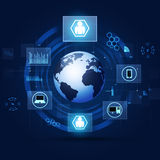 Van de communicatie Achtergrond Concepten de Blauwe Technologie Stock Foto