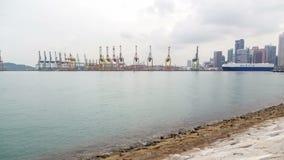 Van de de containerhaven van Singapore de kustmening timelapse stock video