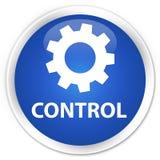 Van de controle (montagespictogram) premie de blauwe ronde knoop Royalty-vrije Stock Fotografie