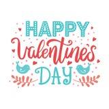 Van de de dag de hand getrokken vectorborstel van Valentine ` s van letters voorziende prentbriefkaar Stock Afbeelding