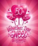 Van de dag het zoete kortingen van Valentine ` s ontwerp van de de verkoopaffiche vector illustratie