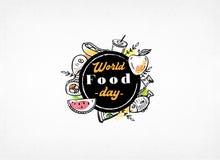 Van de de daggroet van het wereldvoedsel Banner van het de kaart de vectorbeeld, Affiche, Achtergrond, Vlieger, Illustratie, Broc royalty-vrije illustratie