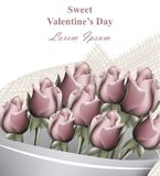 Van de de daggroet van Valentine van het rozenboeket realistische de kaartvector De romantische achtergronden van het bloemenmalp Royalty-vrije Stock Fotografie