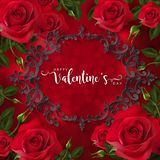 Van de de daggroet van Valentine ` s de de kaartmalplaatjes met realistisch van mooi namen toe Royalty-vrije Stock Fotografie