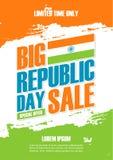 Van de de Dagvakantie van de Republiek van India de Verkoopaffiche De speciale aanbiedingachtergrond in Indische nationale vlagkl Royalty-vrije Stock Afbeeldingen