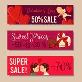 Van de de Dagverkoop van Valentine ` s de Bannersontwerp Vector illustratie Royalty-vrije Stock Afbeelding