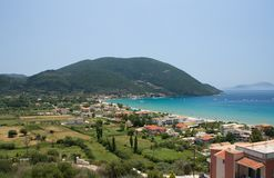 Van de de aard de blauwe hemel van Griekenland Lefkada overzeese reis Europa stock foto