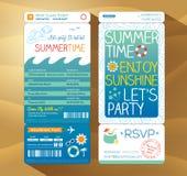 Van de de achtergrond partij instapkaart van de zomervakantie malplaatje voor s Stock Afbeeldingen