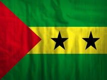 Van de de achtergrond stoffenvlag van Sao Tomé en van Principe textuur Royalty-vrije Stock Afbeeldingen