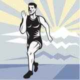 Van de de agent jogger geschiktheid van de marathon de lopende voorzijde vector illustratie