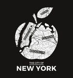 Van de de appelt-shirt van New York het grote grafische ontwerp met stadskaart Royalty-vrije Stock Foto's