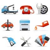 Van de de autodienst en reparatie pictogrammen Stock Foto's