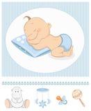 Van de de babyjongen van de slaap de aankomstaankondiging Royalty-vrije Stock Fotografie