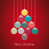 Van de de ballenboom van Kerstmis de streng rode achtergrond Royalty-vrije Stock Afbeelding