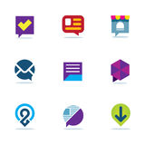 Van de de besprekingsdialoog van het bellenpraatje van het het netwerk communautaire embleem sociale het pictogramreeks Royalty-vrije Stock Fotografie