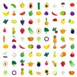 Van de de bessenpaddestoel van de fruitgroente pictogram van het de installaties het vector vlakke voedsel Royalty-vrije Stock Afbeeldingen