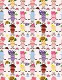 Van de de bloemfee van het beeldverhaal het naadloze patroon Stock Foto
