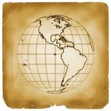 Van de de bolaarde van de planeet het oude document Stock Afbeelding