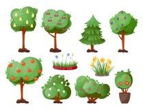 Van de de boom vectorzomer van het bladerenbeeldverhaal de groene achtergrond van de het bladinstallatie Royalty-vrije Stock Foto's