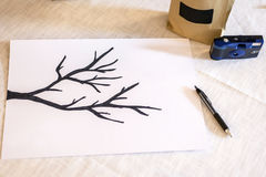 Van de de boomtak van de huwelijks guestbook vertakt het Hand getrokken illustratie van de achtergrond textuurgrunge abstracte pe Royalty-vrije Stock Foto's