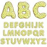 Van de de brievendoopvont van het alfabetbeeldverhaal zoete de doughnutstijl met suikergoed Royalty-vrije Stock Foto