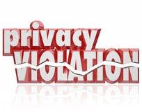 Van de de Brieveninvasie van de privacyschending 3d Woorden Gebarsten Privé Informatie Stock Afbeelding