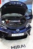 Van de de celtechnologie van de waterstofbrandstof de auto Toyota Mirai, Slowaakse Première in Auto Expo Bratislava 2017 royalty-vrije stock foto's