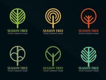 Van de de Cirkellijn van de seizoenboom van de het embleem het vectorillustratie vastgestelde ontwerp Royalty-vrije Stock Fotografie