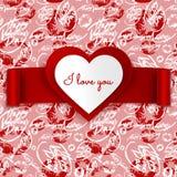 Van de de Dag vectorgroet van Valentine de kaartontwerp, hart en lint op naadloos patroon Stock Foto