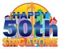 Van de de Daghorizon van Singapore vijftigste de Nationale Illustratie van de de Cirkelkleur Stock Foto's