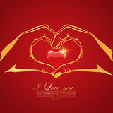 Van de de dagliefde van de gelukkige valentijnskaart de Groetkaart met Rood in Hand Hart Stock Foto