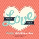 Van de de Daguitnodiging van Valentine s de kaartmalplaatje met LIEFDE Royalty-vrije Stock Afbeelding