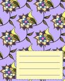 Van de de dekkingsprentbriefkaar van het schoolnotitieboekje de uitnodigingssteekproef met bloemen Royalty-vrije Stock Foto