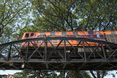 VAN DE DE DOODSspoorweg VAN THAILAND KANCHANABURI DE BRUGrivier KWAI Stock Foto