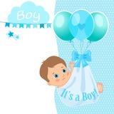Van de de Douchekaart van de babyjongen de Vectorillustratie De Uitnodiging van de babydouche Royalty-vrije Stock Afbeelding