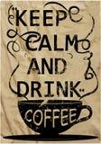 Van de de Drankt-shirt van de koffieslogan van de de koffiebar van het de koffiehuis het Ontwerp Vectorart. Stock Afbeeldingen