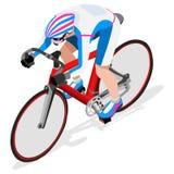 Van de de Fietseratleet van de spoorfietser de Reeks van Summer Games Icon Olympics Spoor het Cirkelen Snelheidsconcept 3D Isomet Stock Afbeelding