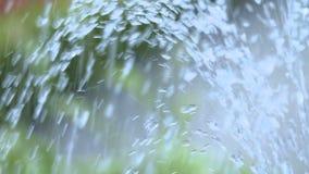 Van de de fonteinstroom van het parkwater de langzame motie stock footage