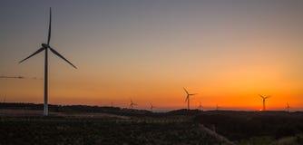 Van de de generatieavond van de windmolensmacht de hemellandschap Stock Fotografie