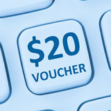 Van de de giftkorting van de 20 Dollarbon de verkoop online winkelend Internet st Royalty-vrije Stock Afbeeldingen