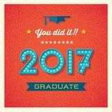 van de de graduatiekaart of banner van 2017 ontwerp Stock Afbeeldingen