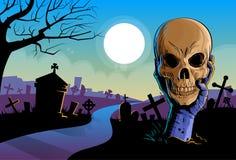 Van de de Greep het Dode Schedel van de zombiehand Wapen van Undead Hoofd van royalty-vrije illustratie