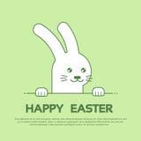Van de de Groetkaart van konijnbunny happy easter holiday banner de Groene Achtergrond Stock Afbeeldingen