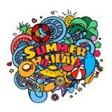 Van de de hand het van letters voorzien en krabbel van de de zomervakantie elementenachtergrond Stock Foto