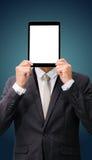 Van de de handholding van de zakenman de bevindende houding lege geïsoleerde tablet Stock Afbeeldingen