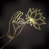 Van de de handholding van Lord Buddha de bloem van Lotus Vector illustratie van vector illustratie