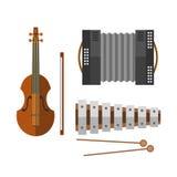 Van de de harmonikaharmonika van het pianotoetsenbord muzikale het instrumenten vectorillustratie en viool akoestische antieke kl royalty-vrije illustratie