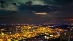 Van de de haven timelapse Zonsondergang van Singapore de lichten van de de hemelstad stock videobeelden