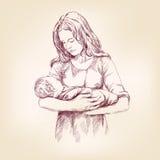 Van de de holdingsbaby van Madonna Mary vectorllustration van Jesus Stock Foto